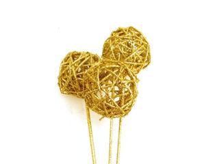 "Picture of Vine Balls Glittered Gold 3"""