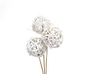"""Picture of Vine Balls Glittered White 3"""""""