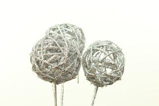 """Picture of Vine Balls Glittered Silver 3"""""""